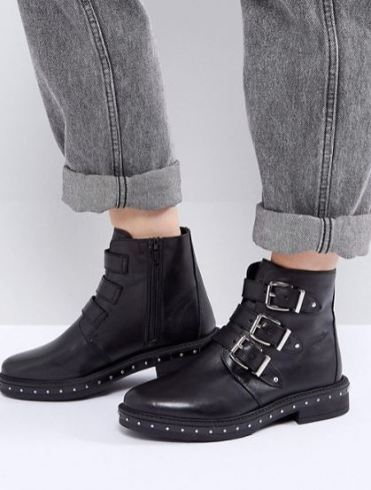 Steve Madden Matika Studded Leather Buckle Ankle Boots