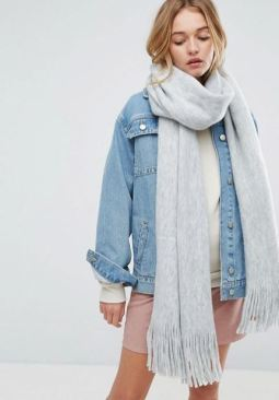 ASOS Long Tassel Scarf in Supersoft Knit