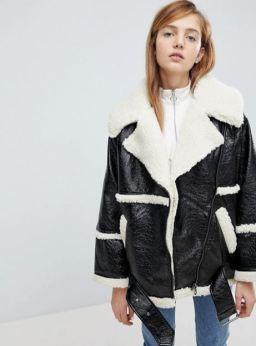 Monki Premium Shearling Aviator Jacket