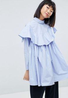 ASOS WHITE Oversized Frill Shirt In Plain