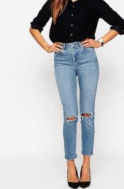 ASOS FARLEIGH High Waist Slim Mom Jeans in Prince Wash With Busted Knees