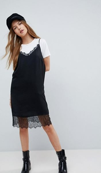 ASOS Lace Insert Slip Mini Dress