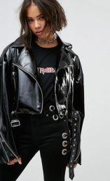 ASOS Faux Leather Biker Jacket in Vinyl with Shoulder Pads