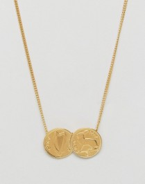 Katie Mullally Gold Irish 3p Double Coin Pendant Necklace